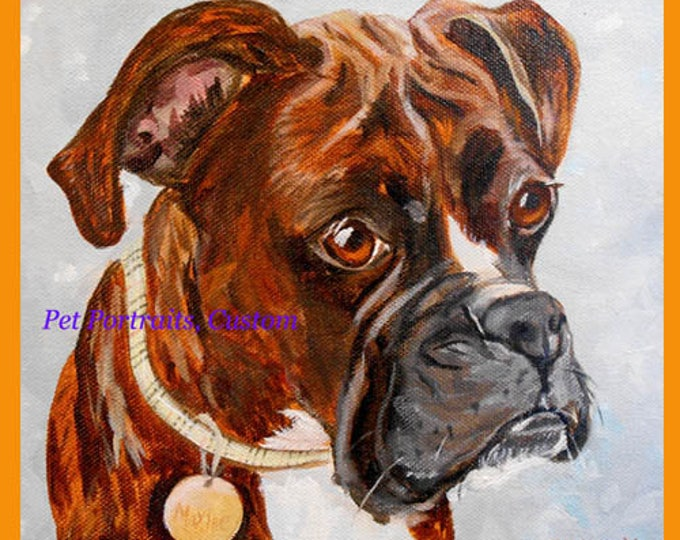 "Boxer Dog Custom Oil Painting Portrait from Photos by artist Robin Zebley, 11"" x 14"""