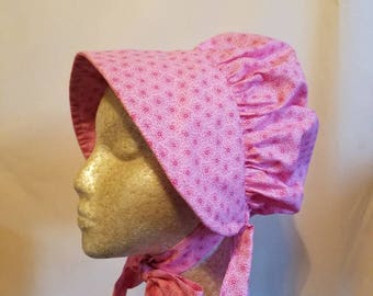 Pink Calico Pioneer Bonnet for Girls
