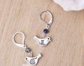 Little bird earrings | Bird jewellery | Cute boho earrings | Blue dangle bead and charm earrings | Animal jewellery | Quirky bird earrings