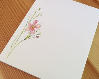 Wildflower Floral Notepad - Small Watercolor Water Buttercup Notepad - 4 x 5 Handmade Botanical Notepad - Gardener Gift - 40 Sheet Notepad