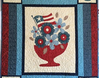 Patriotic Wall Hanging, Flags, Red White and Blue Home Decor, Lap Quilt, Throw Quilt, Handmade Blanket