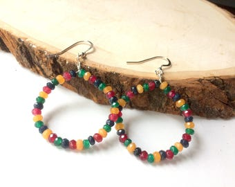 Jade Hoop Earrings, Multicolor Gemstones, Sterling Silver, Bold Fashion Earrings, Colorful Southwestern Jewelry, Unique One of a Kind Gift