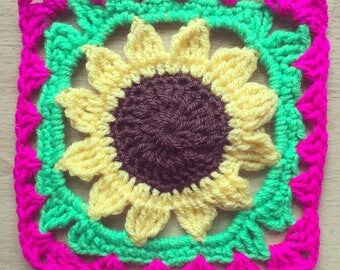 Crochet sunflower square coaster