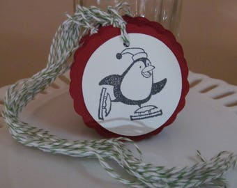 Christmas Penguin on skates tags - Deep red - set of 10 - perfect for gift tags, holiday parties, classroom treats, etc.!