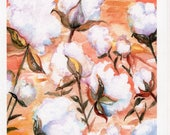 Cotton field, cotton bolls Greeting Card - Print of my original watercolor, all occasion card, card, cotton art card, cotton greeting card