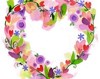 Heart Wreath Print high quality giclee art floral heart Lauren Ingraham