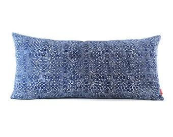 Blue Indigo Batik Lumbar Pillow - Bohemian Rectangle Pillow - Boho Linen Decorative Pillow- Down Filler Included