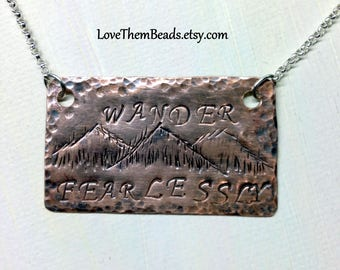 Hand Stamped Word Necklace, Wander Fearlessly, Custom Stamped, Personalized Jewelry, Inspirational Quote Necklace, Bar Necklace