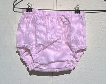 Pink and White Cotton Seersucker Baby Bloomers Size Newborn, months, 12 months, 18 months Diaper Cover