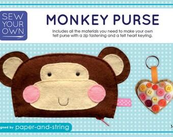 Monkey Purse & Heart Keyring - Medium Kit - Felt sewing kit