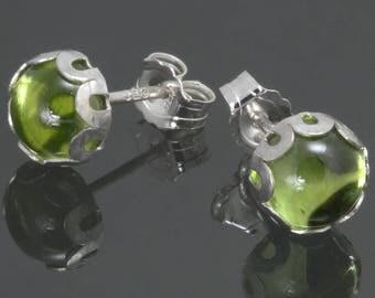 Peridot Stud Earrings. Sterling Silver. Genuine Gemstone. August Birthstone. Cabochon Earrings. 6mm Round. f14e007