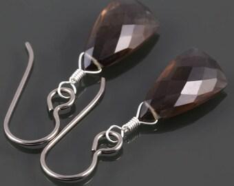 Smoky Quartz Earrings. Titanium Ear Wires. Unique Triangle Shape. Genuine Gemstone. Lightweight Earrings. f17e021