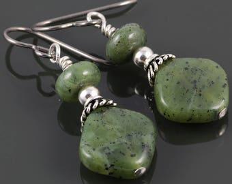 Jade Earrings. Titanium Ear Wires. Genuine Gemstone. Sterling Silver. f17e029