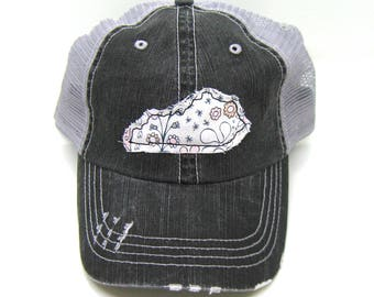 Kentucky Hat - Black and Gray Distressed Trucker Hat - Pink and Gray Floral Applique - All States Available