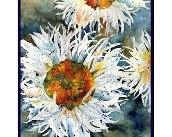 Watercolor Shasta Daisies Note Cards, Notecards, Daisy Prints, Boxed Set, Stocking Stuffers
