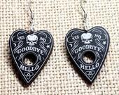 Skull Earrings / Planchette Earrings / Spirit Board Earrings / Gothic Earrings / Magic Accessories / Witch Accessories / Wiccan Jewelry