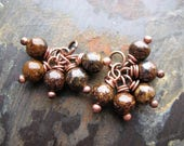Bronzite and Antiqued Copper Bead Charms - 1 Pair - 17mm in length