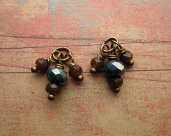Faceted Brown Quartz with Iridescent Green Glass Bead Charms - 1 Pair