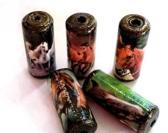 Horse Beads -  Handmade Paper Tube Beads - - Set/5 -  PB12