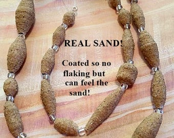 REAL Sand Beads -  Great For Beach Themed Jewelry  - Strand of 25 -  PB101
