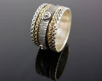 Sterling silver & brass spin ring - size 8.0