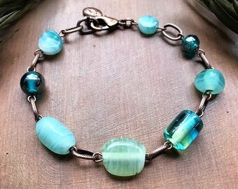 Summery Lampwork Glass Bead Bracelet - Aqua and Lime with Antique Copper