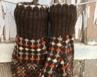 MEMORIAL DAY SALE- Wool Retro Mittens- Upcycled Fashion-Brown and Orange-Sweater Mittens