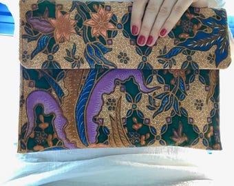 Batik clutch / tropical bag / Asia print