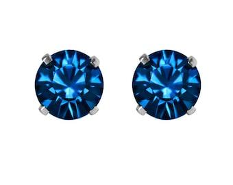 Swarovski Crystal Stud Earrings Sterling Silver Capri Blue or CHOICE OF COLOURS
