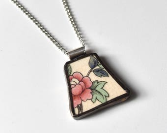Broken China Jewelry Pendant - Red Flower