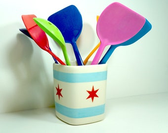Chicago Flagware. NEW. Carefully Crafted Square Vessel /Utensil Holder/Vase of Awesome in a Chicago Flag theme. Made to Order.