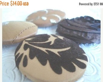 CLEARANCE - Mustard and brown - 4 fabric covered buttons - 1 7/8 inches - size 75