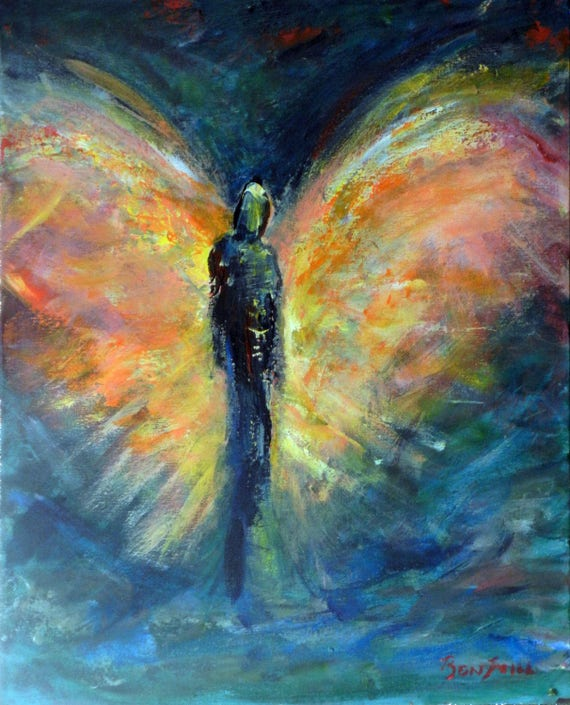 ORIGINAL Angel Abstract Art Oil Painting Destiny's Travel Vision of Angels Series 20x16 by BenWill