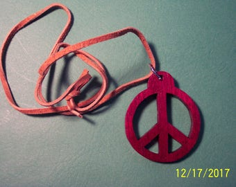 """Wooden """"Peace"""" Necklace   ----  Scrollsaw"""