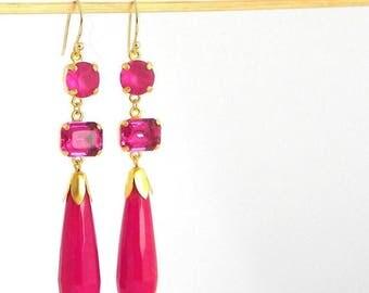 SALE Fuschia Pink Long Art Deco Statement Earrings