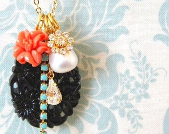 SALE Vintage Black Coral Pearl Turquoise Rhinestone Charm Necklace