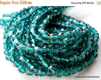 20% Summer SALE Czech Beads - Viridian Blue Firepolished 4mm Beads - 50 beads (G - 91)