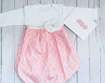 Shabby chic BABY GOWN in pink and white, new baby coming home hospital outfit....girls clothing