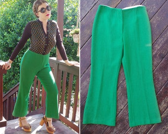 FUNKY Town 1960's 70's Vintage Bright Green Wool Poly High Waist Bell Bottoms Pants // size Medium Short // W30 L27
