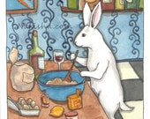 Reserved - Original Watercolor Rabbit Painting - Cooking with Wine