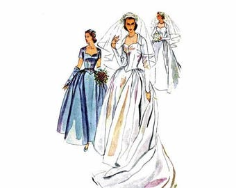 SALE 1950s Wedding Dress Simplicity 4084 Vintage Sewing Pattern Bridesmaid Brides Bridal Gown Headdress Veil Mitts Misses Size 12 Bust 30 Un