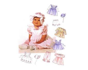 McCalls 6853 Infants Pinafore Dress Panties Pantaloons Bonnet Vintage Sewing Pattern Size S - M - L - XL UNCUT