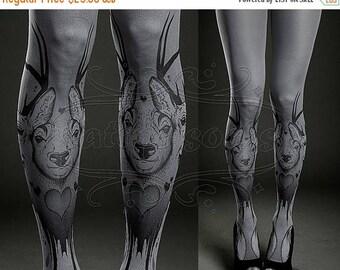 ON SALE/// Tattoo Tights - asphalt one size Triple Deer full length printed tights closed toe pantyhose
