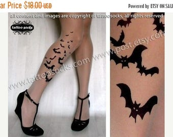 ON SALE/// XS/S/M  sexy Bats Tattoo thigh-high socks Light Mocha