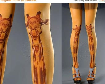 SALE///Happy2018/// Tattoo Tights - orange one size Giraffe full length closed toe tights pantyhose, tattoo socks, printed tights