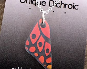 Small Butterfly Wing Necklace - Translucent Red /Orange