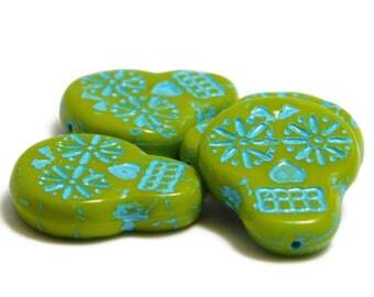 Sugar Skull Beads - Day Of The Dead - Czech Glass Beads - Chartreuse - Sugar Skulls - Czech Beads -  20x17 - Picasso Beads - 4pcs (1449)