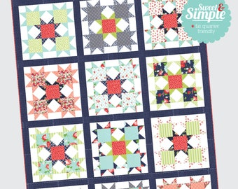 Star Bright quilt pattern from Thimble Blossoms - fat quarter friendly