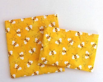 Reusable Snack Bag, Sandwich Bag in Honey Bees, Bumble Bees, Summer Picnic Lunch