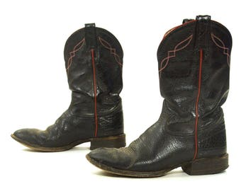 Tony Lama Black Label Cowboy Boots / Vintage Black Leather Shortie Mid Calf PeeWee Western Riding Boots / Women's Size 9.5 / Men's Size 8